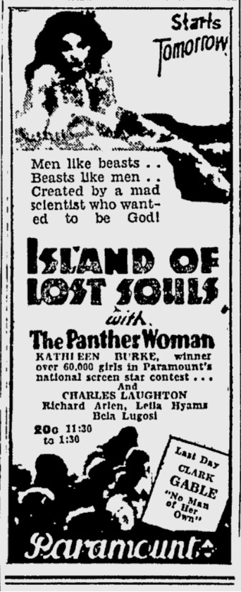 Island Of Lost Souls, The Desert News, January 5, 1933