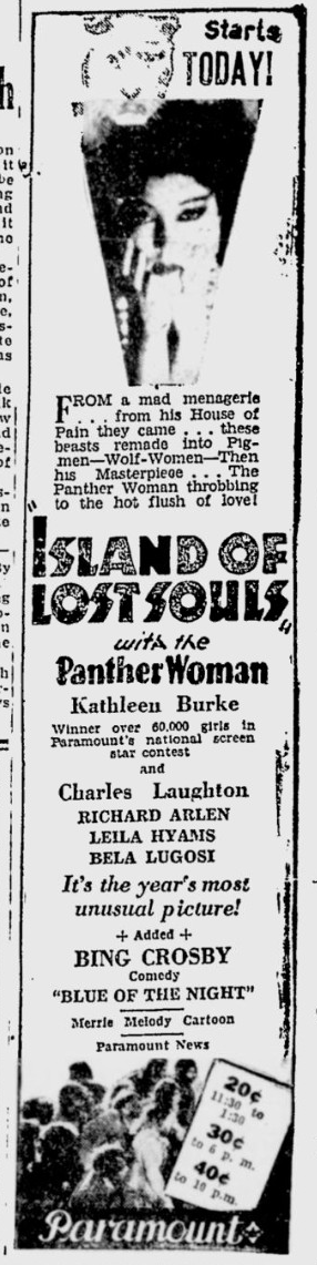 Island Of Lost Souls, The Desert News, January 6, 1933