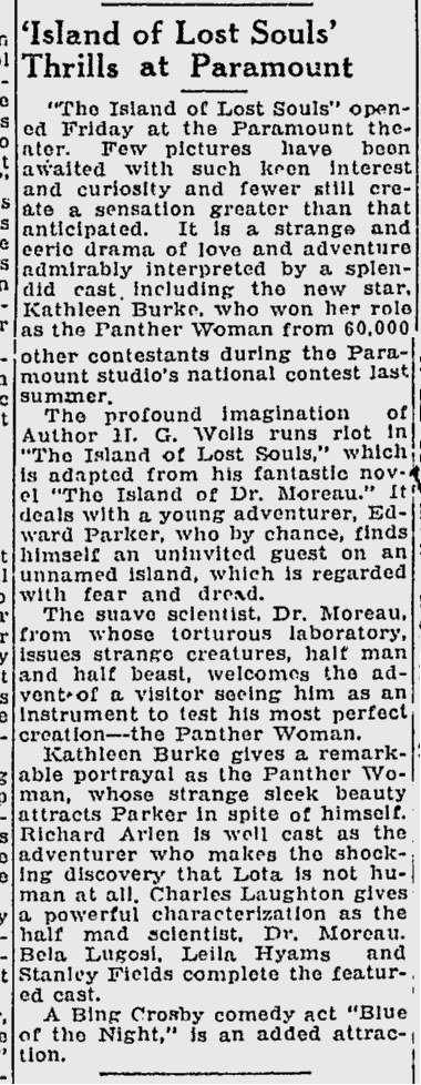 Island Of Lost Souls, The Desert News, January 7, 1933 b