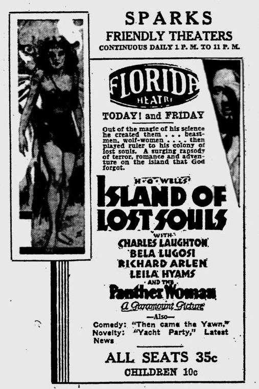Island Of Lost Souls, The Evening Independent, January 5, 1933