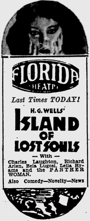 Island Of Lost Souls, The Evening Independent, January 6, 1933