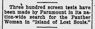 Island Of Lost Souls, The Evening Independent, September 9, 1932