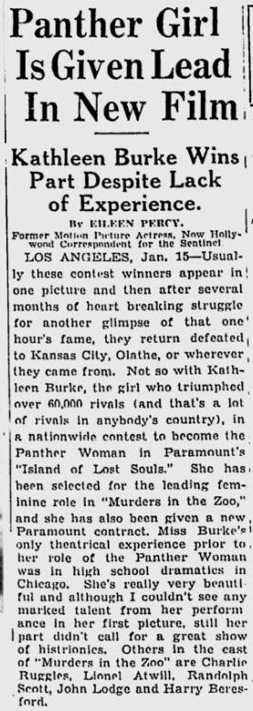 Island Of Lost Souls, The Milwaukee Sentinel, January 16, 1933