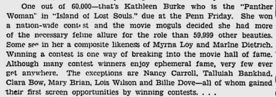 Island Of Lost Souls, The Pitsburgh Press, January 30, 1933