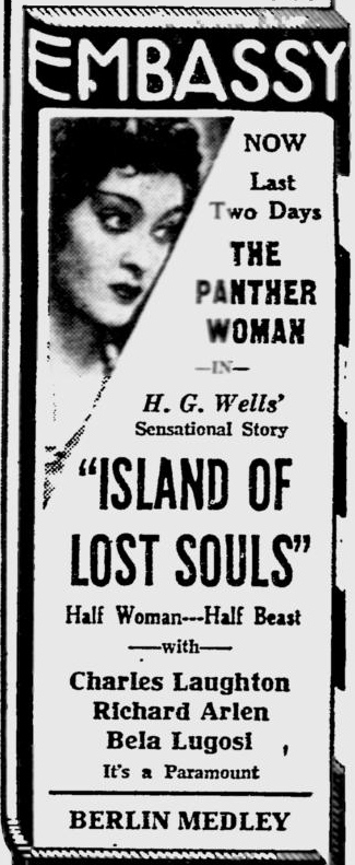 Island Of Lost Souls, The Reading Eagle, February 1, 1933