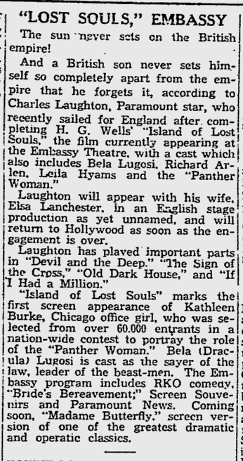 Island Of Lost Souls, The Reading Eagle, January 27, 1933 b