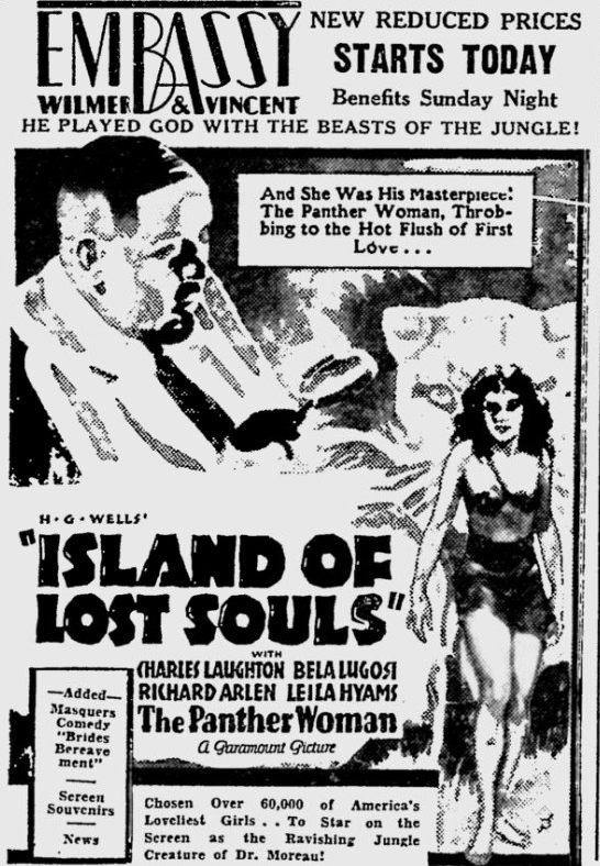 Island Of Lost Souls, The Reading Eagle, January 27, 1933