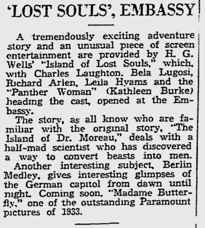 Island Of Lost Souls, The Reading Eagle, January 29, 1933 b