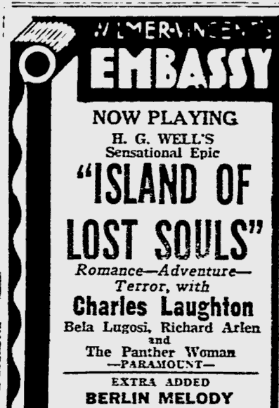 Island Of Lost Souls, The Reading Eagle, January 30, 1933