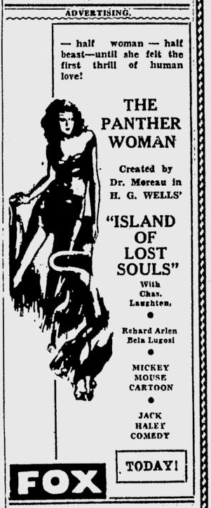 Island Of Lost Souls, The Spokane Daily Chronicle, February 1, 1933