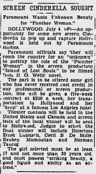 Island Of Lost Souls, The Spokane Review, July 4, 1932