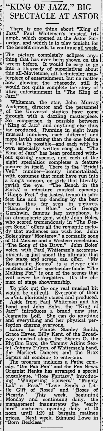 King of Jazz Reading Eagle, June 22, 1930 2