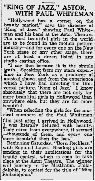 King of Jazz, Reading Eagle, June 26, 1930 2