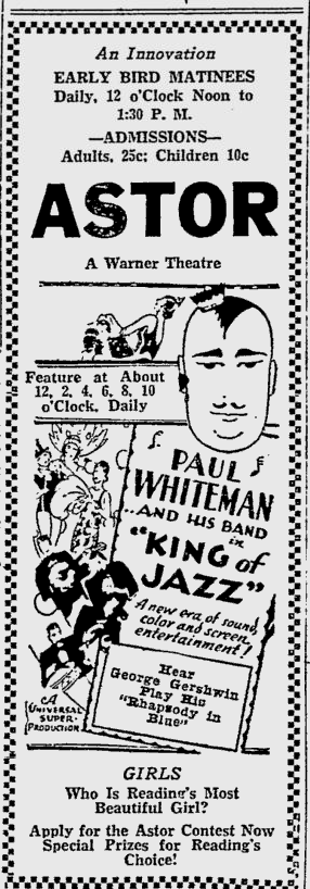 King of Jazz, Reading Eagle, June 26, 1930