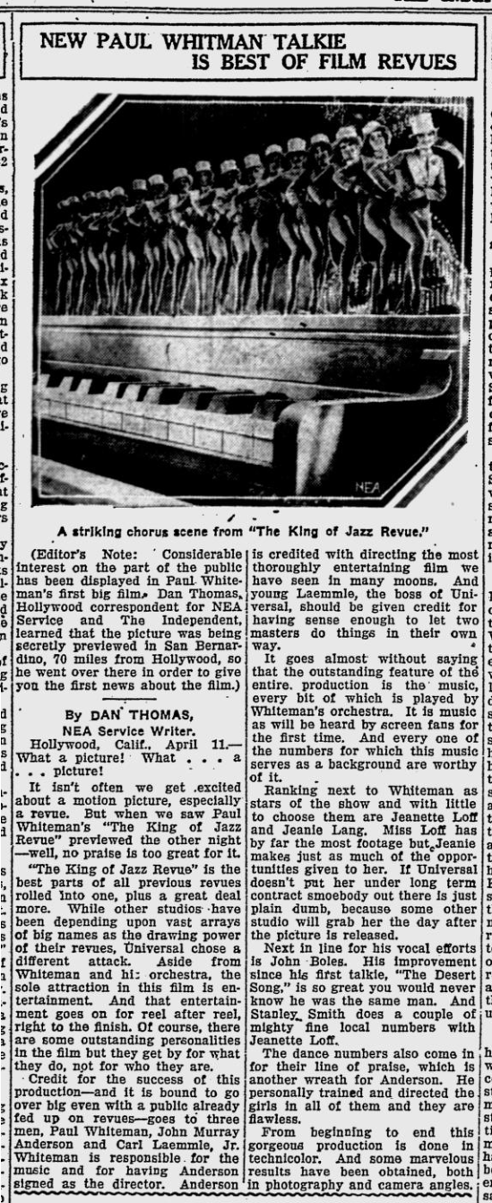 King of Jazz., The Evening Independent, April 11, 1930