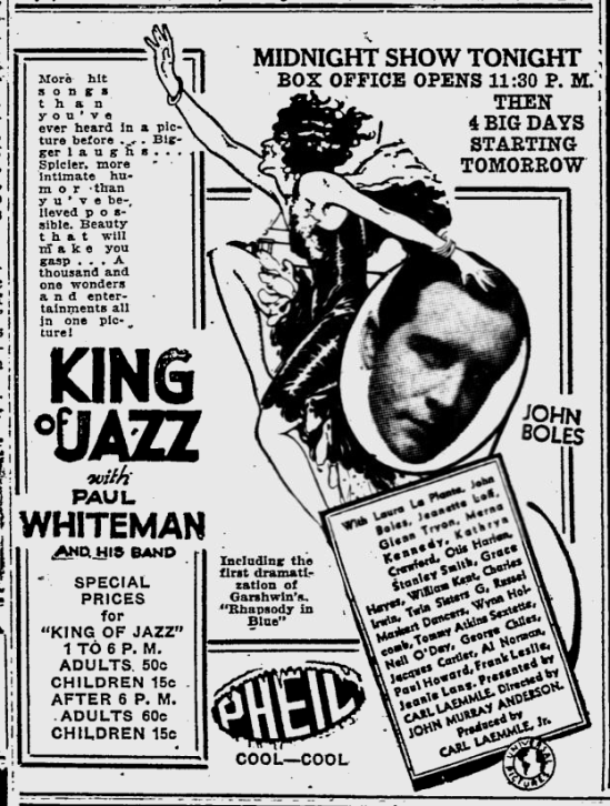 King of Jazz, The Evening Independent, August 11, 1930