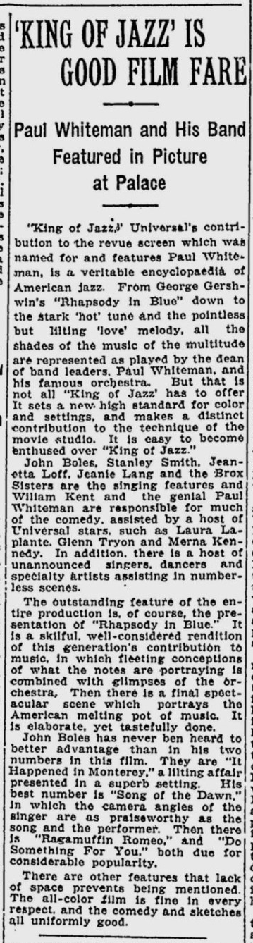 King of Jazz, The Montreal Gazette, July 14, 1930 2
