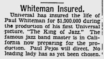 King of Jazz, The Pitsburgh Press, June 30, 1929