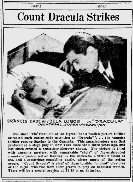 Dracula, Lewiston Morning Tribune, May 29, 1931 Photo
