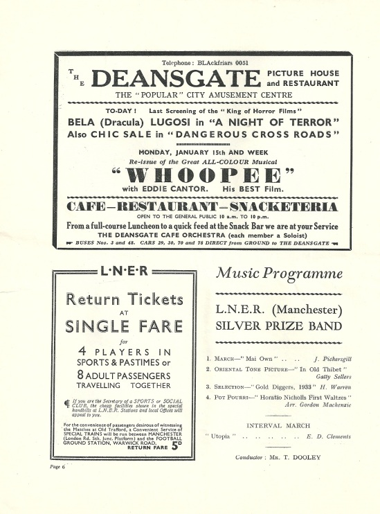 Night of Terror Man u v Porstsmouth programme 19334