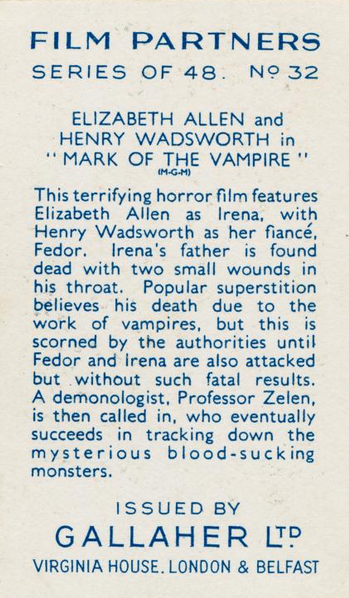 Mark of the Vampire cigarette card rear