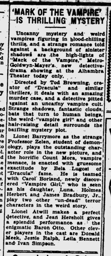 Mark Of The Vampire, Kentucky New Era, June 17, 1935 b