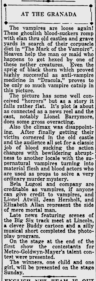 Mark Of The Vampire, Lawrence Journal-World, May 25, 1935