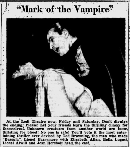 Mark of the Vampire, Lodi News-Sentinel, July 25, 1935