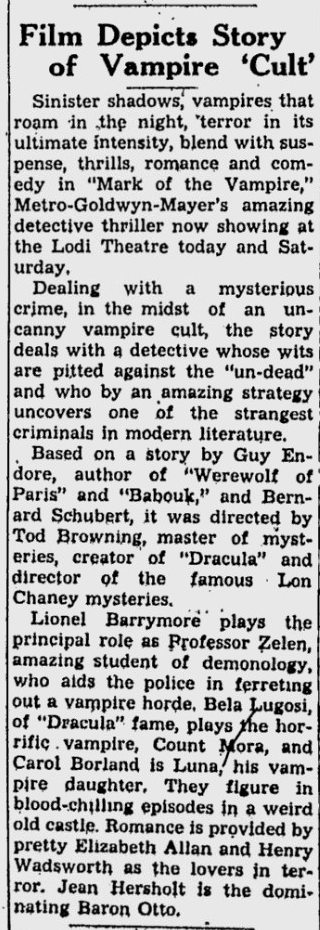 Mark Of The Vampire, Lodi News-Sentinel, July 26, 1935 b