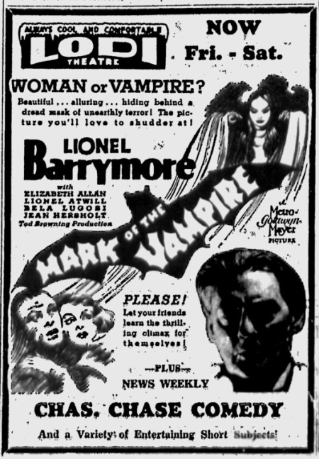 Mark Of The Vampire, Lodi News-Sentinel, July 26, 1935