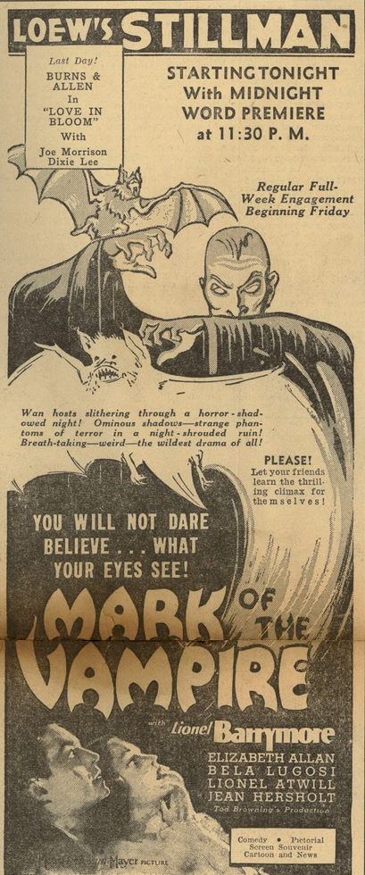 Mark of the Vampire newspaper ad