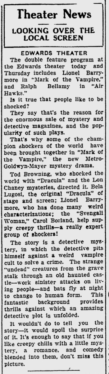 Mark Of The Vampire, Sarasota Herald-Tribune, June 5, 1935