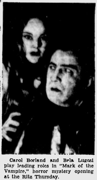 Mark Of The Vampire, Spokane Daily Chronicle, December 10, 1935