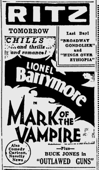 Mark Of The Vampire, Spokane Daily Chronicle, December 11, 1935