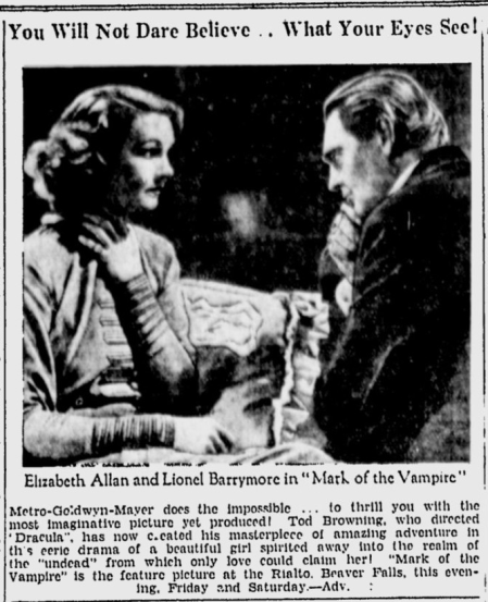 Mark Of The Vampire, The Daily Times, June 6, 1935 b