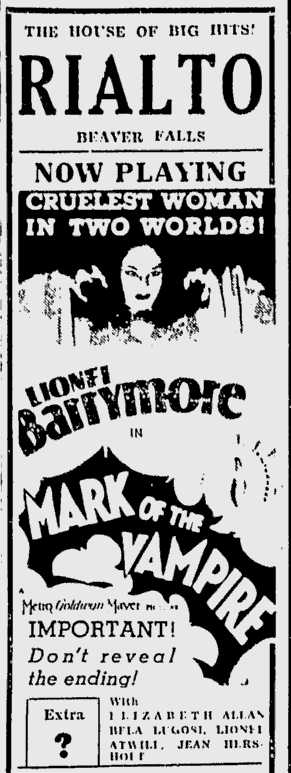 Mark of the Vampire, The Daily Times, June 6, 1935