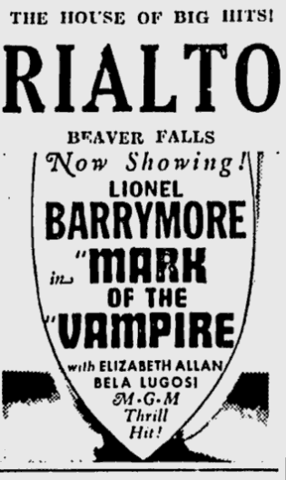 Mark Of The Vampire, The Daily Times, June 7, 1935