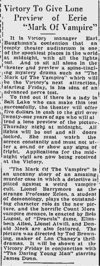 Mark of the Vampire, The Desert News, July 23, 1935