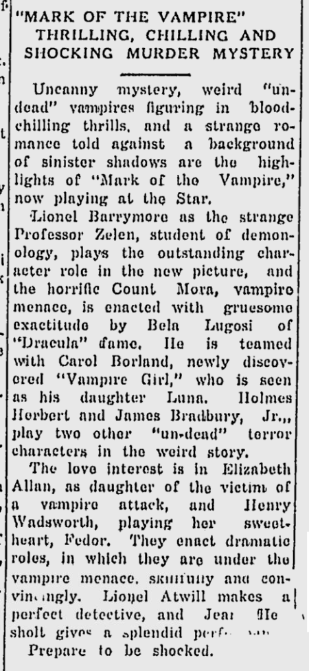 Mark Of The Vampire, The Nevada Daily Mail, May 8, 1935 b