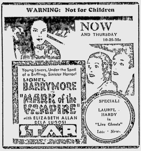 Mark Of The Vampire, The Nevada Daily Mail, May 8, 1935