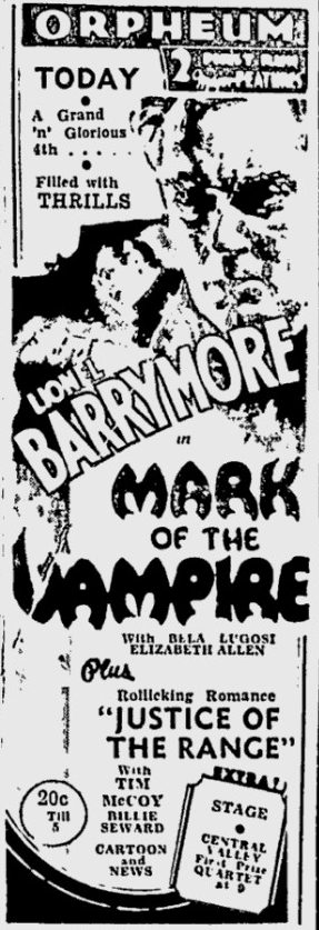 Mark Of The Vampire, The Spokesman-Review, July 3, 1935