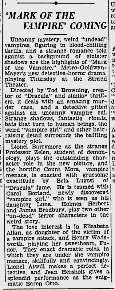 Mark Of The Vampire, The Sunday Spartanburg Herald-Journal. July 14, 1935
