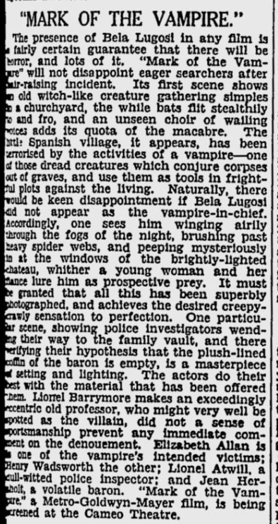 Mark of the Vampire, The Sydney Morning Herald, January 13, 1936