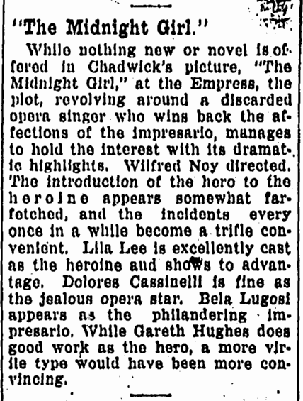Midnight Girl, Evening World Herald, April 13, 1925