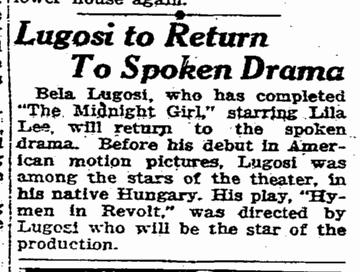 Midnight Girl Hymen in Revolt, San Francisco Chronicle, March 10, 1925