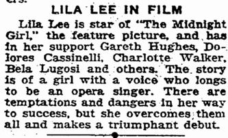 Midnight Girl, San Francisco Chronicle, May 23, 1925