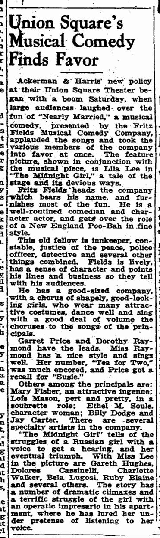 Midnight Girl, San Francisco Chronicle, May 25, 1925