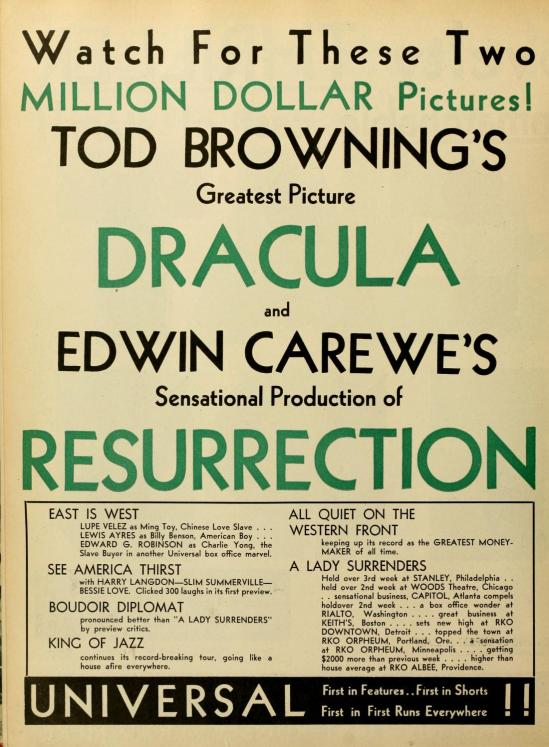 Dracula Motion Picture News, October 25, 1930