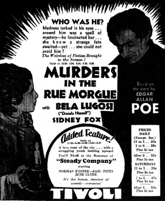Murders in the Rue Morgue Newspaper Ad 1