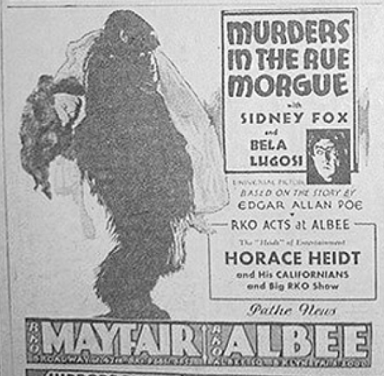Murders in the Rue Morgue Newspaper Ad 3